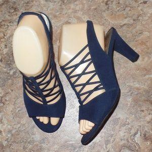 Impo Stretch Navy BLue Violeta Cage Heels 7.5